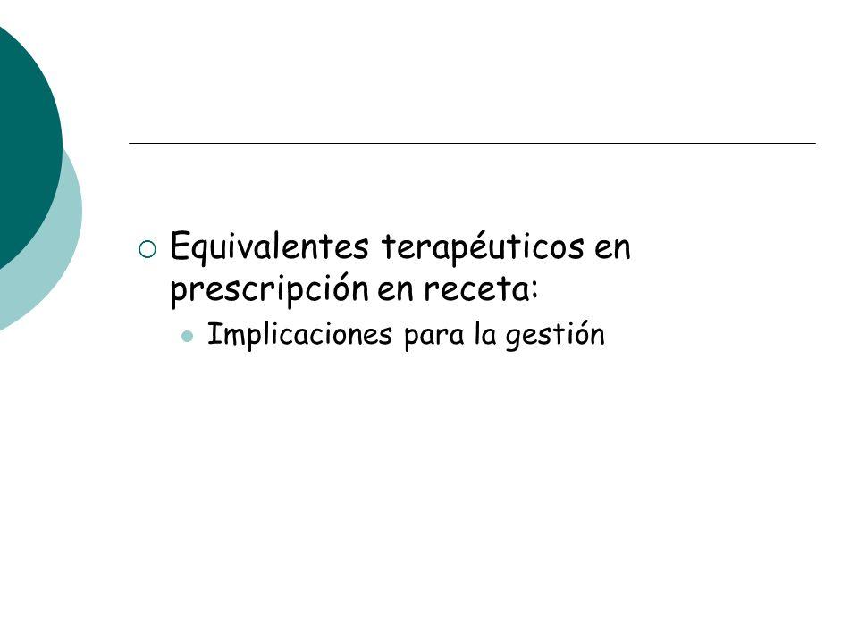 Equivalentes terapéuticos en prescripción en receta: Implicaciones para la gestión