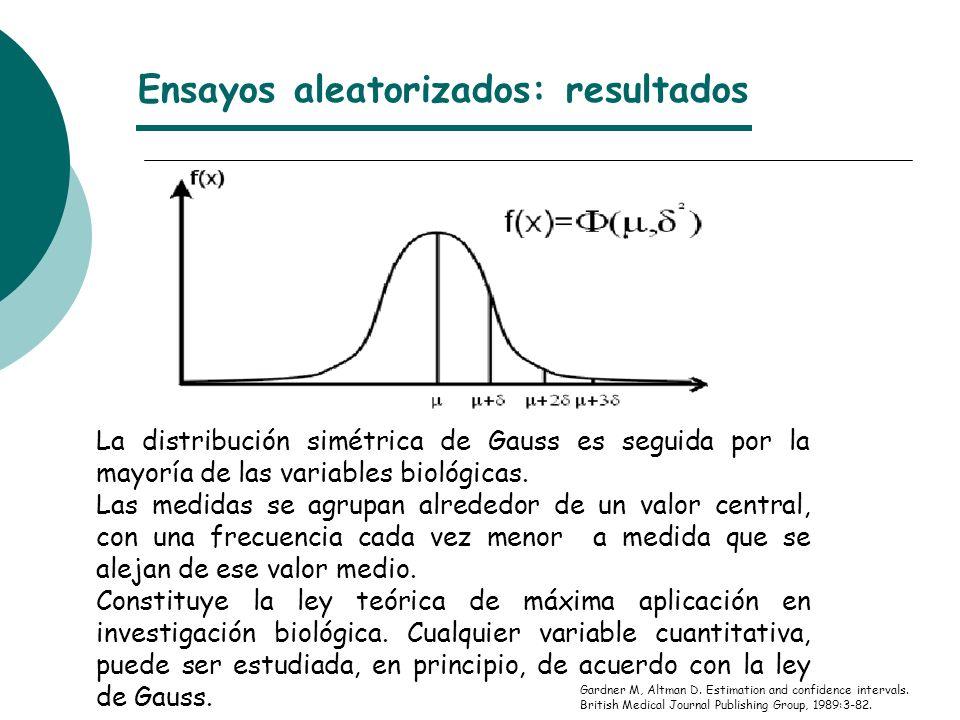 Ensayos aleatorizados: resultados Gardner M, Altman D.