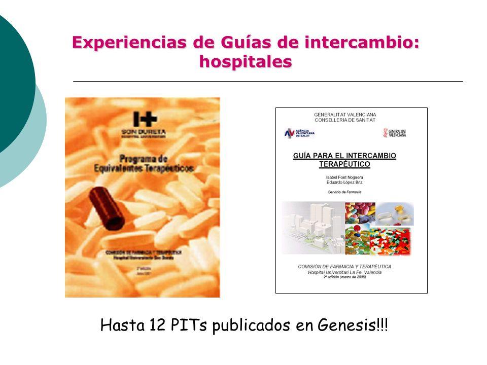 Experiencias de Guías de intercambio: hospitales Hasta 12 PITs publicados en Genesis!!!