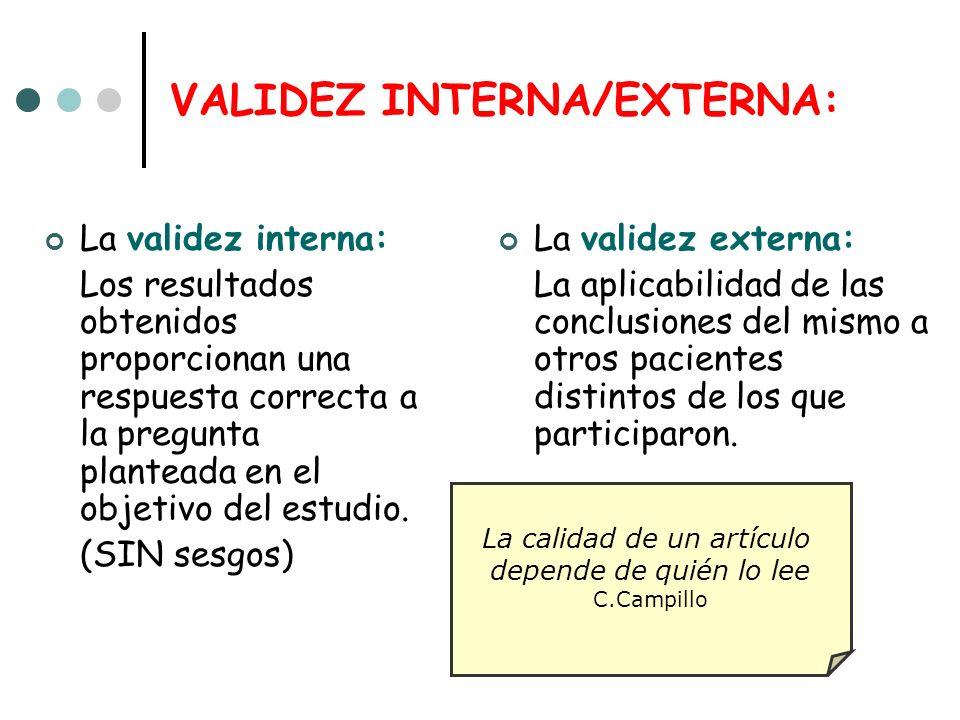VALIDEZ INTERNA/EXTERNA: La validez interna: Los resultados obtenidos proporcionan una respuesta correcta a la pregunta planteada en el objetivo del estudio.