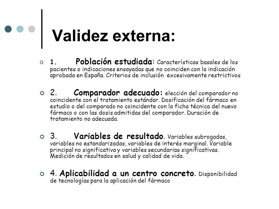 Validez externa: 1. Población estudiada: Características basales de los pacientes o indicaciones ensayadas que no coinciden con la indicación aprobada