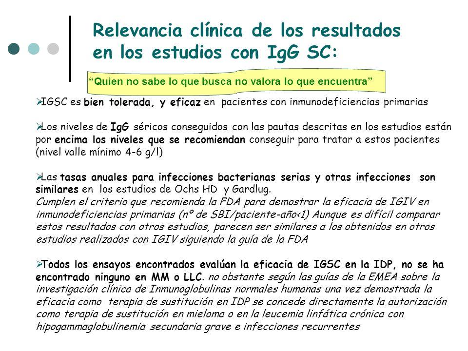 IGSC es bien tolerada, y eficaz en pacientes con inmunodeficiencias primarias Los niveles de IgG séricos conseguidos con las pautas descritas en los estudios están por encima los niveles que se recomiendan conseguir para tratar a estos pacientes (nivel valle mínimo 4-6 g/l) Las tasas anuales para infecciones bacterianas serias y otras infecciones son similares en los estudios de Ochs HD y Gardlug.