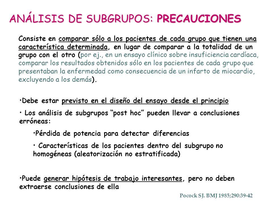 ANÁLISIS DE SUBGRUPOS: PRECAUCIONES Debe estar previsto en el diseño del ensayo desde el principio Los análisis de subgrupos post hoc pueden llevar a