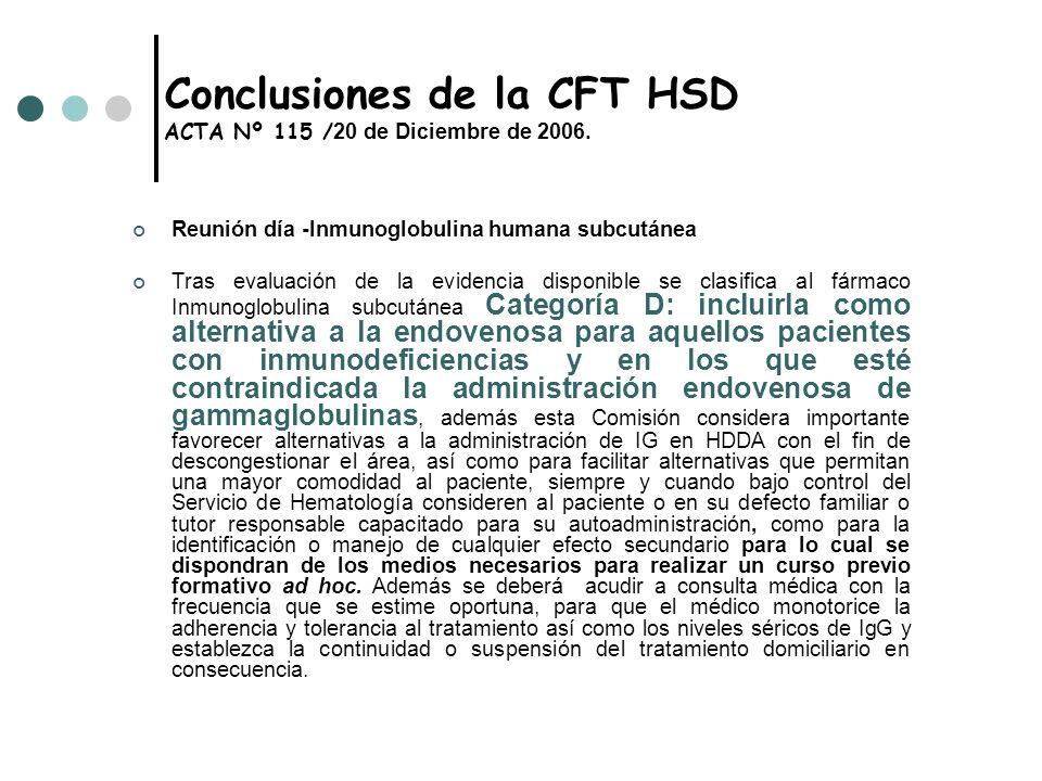Conclusiones de la CFT HSD ACTA Nº 115 / 20 de Diciembre de 2006. Reunión día -Inmunoglobulina humana subcutánea Tras evaluación de la evidencia dispo