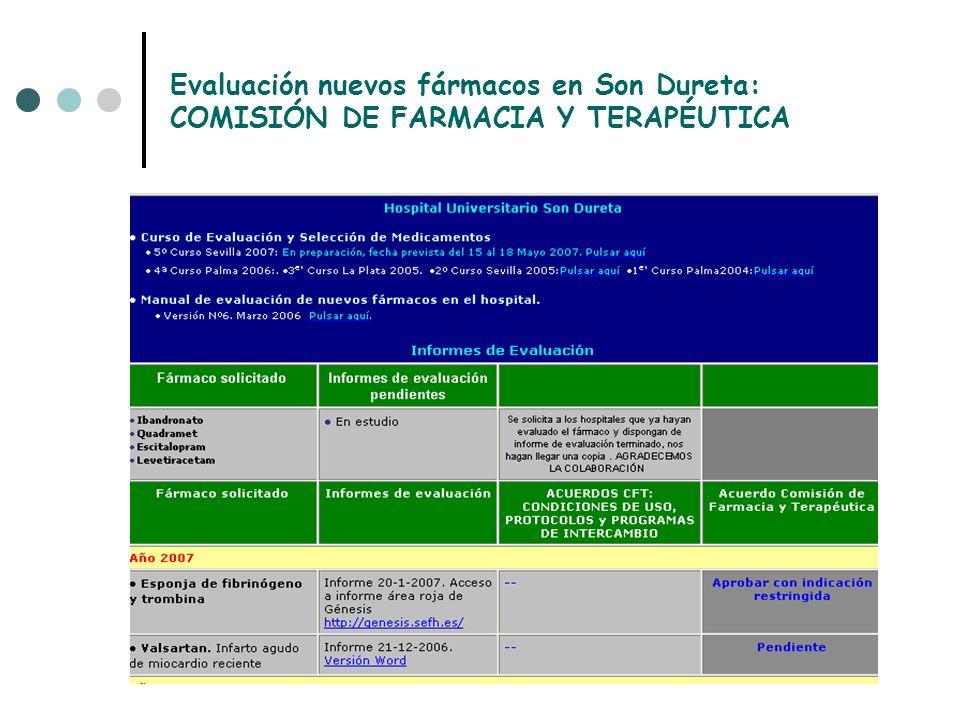 Evaluación nuevos fármacos en Son Dureta: COMISIÓN DE FARMACIA Y TERAPÉUTICA