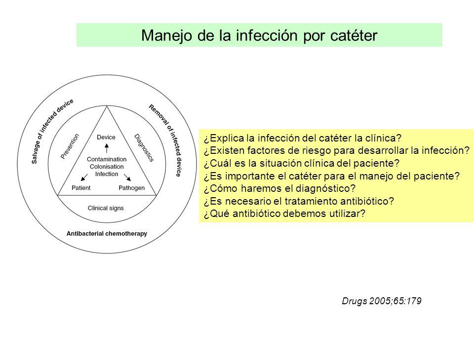 ¿Explica la infección del catéter la clínica? ¿Existen factores de riesgo para desarrollar la infección? ¿Cuál es la situación clínica del paciente? ¿