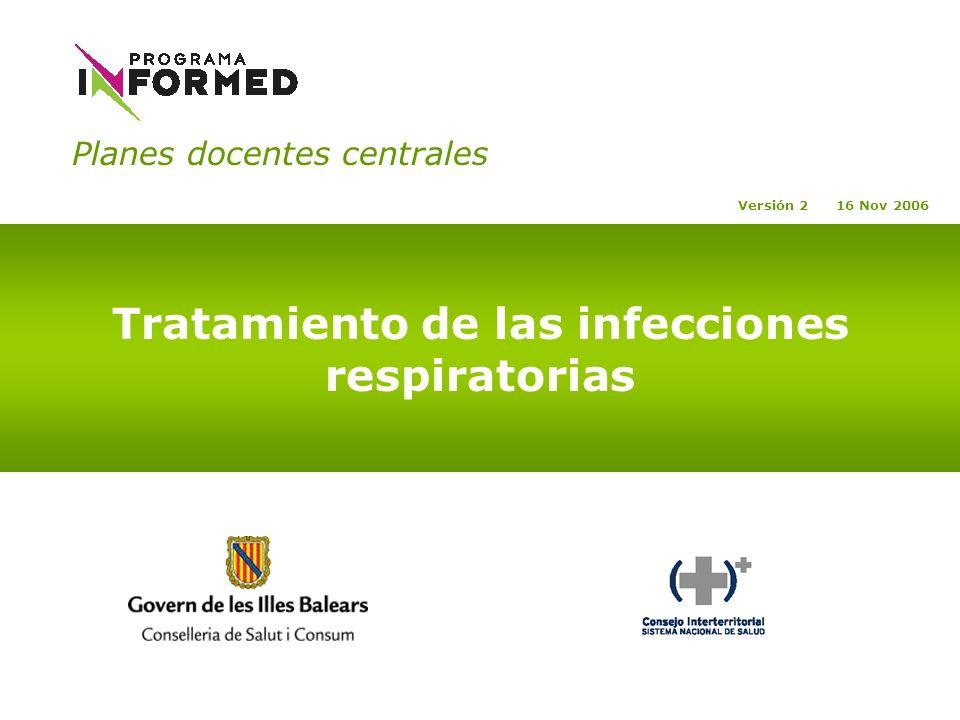 Planes docentes centrales Tratamiento de las infecciones respiratorias Versión 2 16 Nov 2006