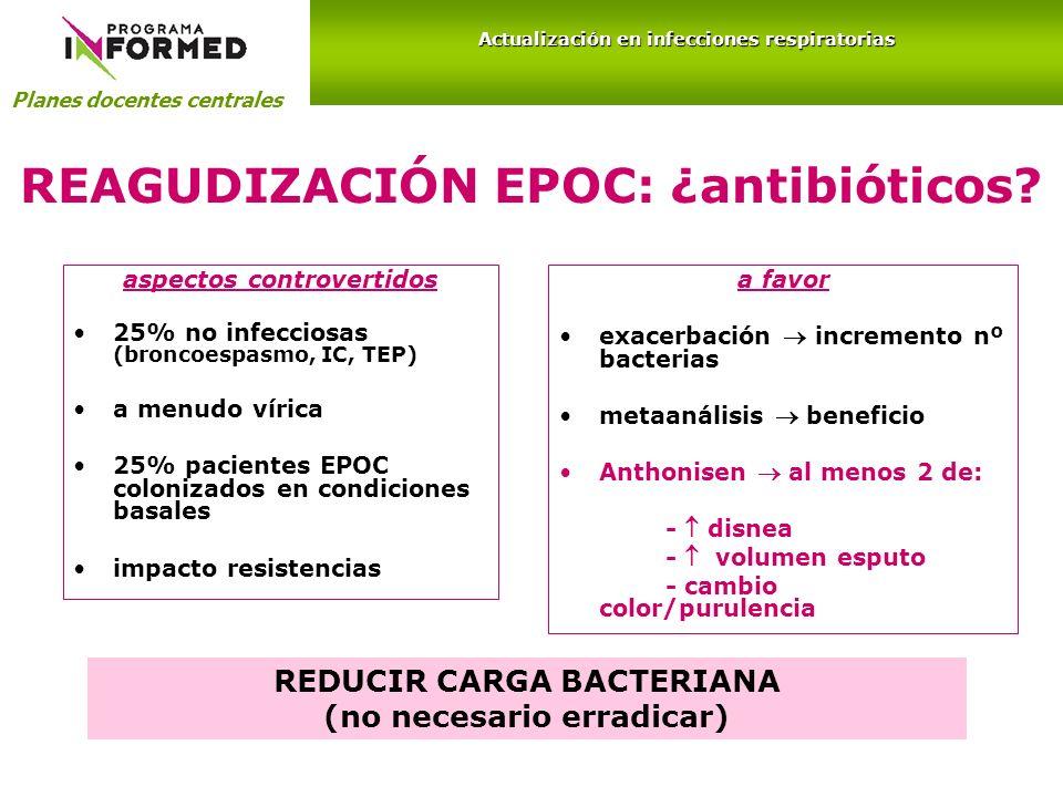 REAGUDIZACIÓN EPOC: ¿antibióticos? aspectos controvertidos 25% no infecciosas (broncoespasmo, IC, TEP) a menudo vírica 25% pacientes EPOC colonizados