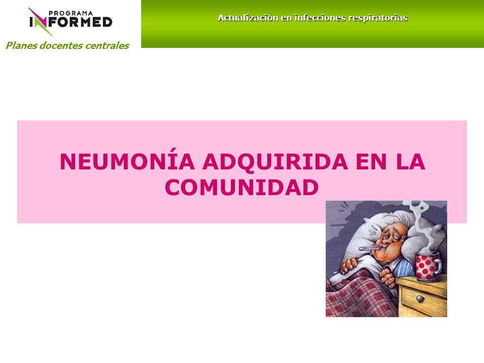 Planes docentes centrales Actualización en infecciones respiratorias NEUMONÍA ADQUIRIDA EN LA COMUNIDAD