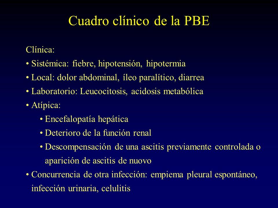 Cuadro clínico de la PBE Clínica: Sistémica: fiebre, hipotensión, hipotermia Local: dolor abdominal, íleo paralítico, diarrea Laboratorio: Leucocitosi