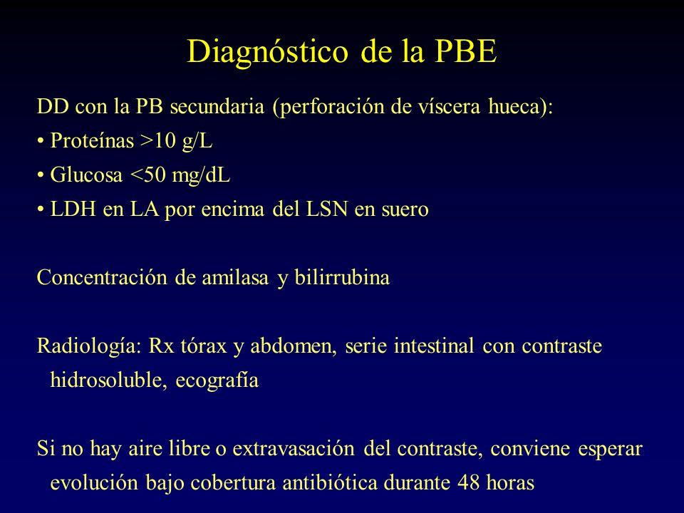 Diagnóstico de la PBE DD con la PB secundaria (perforación de víscera hueca): Proteínas >10 g/L Glucosa <50 mg/dL LDH en LA por encima del LSN en suer