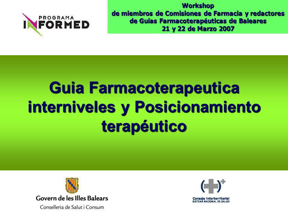 Guia Farmacoterapeutica interniveles y Posicionamiento terapéutico Workshop de miembros de Comisiones de Farmacia y redactores de Guías Farmacoterapéu