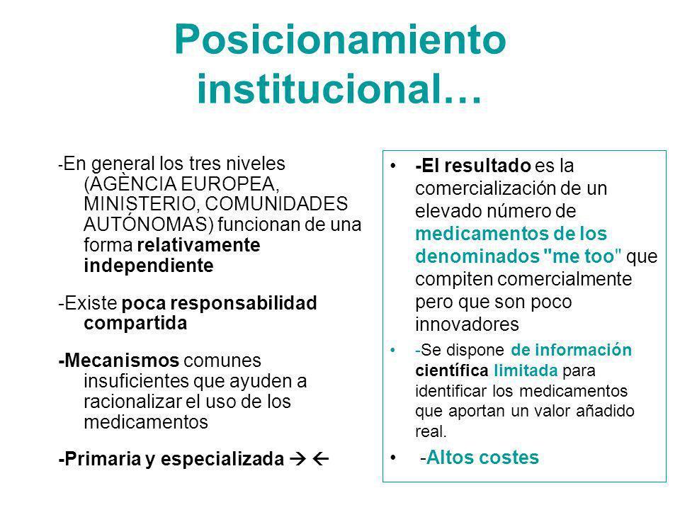 Posicionamiento institucional… - En general los tres niveles (AGÈNCIA EUROPEA, MINISTERIO, COMUNIDADES AUTÓNOMAS) funcionan de una forma relativamente