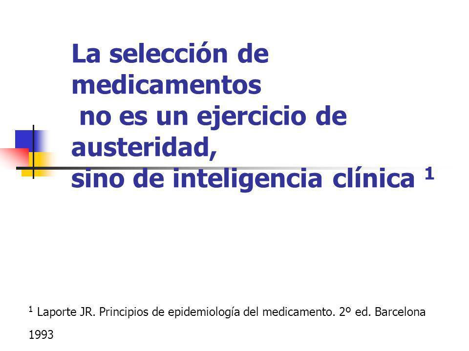 La selección de medicamentos no es un ejercicio de austeridad, sino de inteligencia clínica 1 1 Laporte JR. Principios de epidemiología del medicament