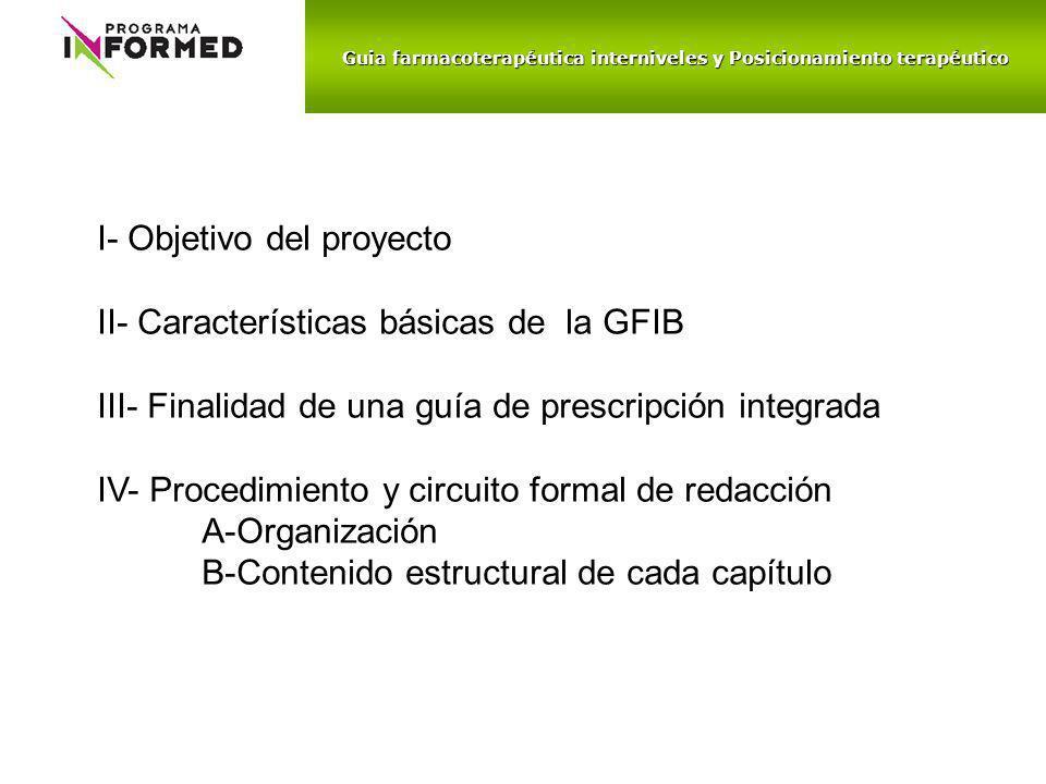 Guia farmacoterapéutica interniveles y Posicionamiento terapéutico I- Objetivo del proyecto II- Características básicas de la GFIB III- Finalidad de u