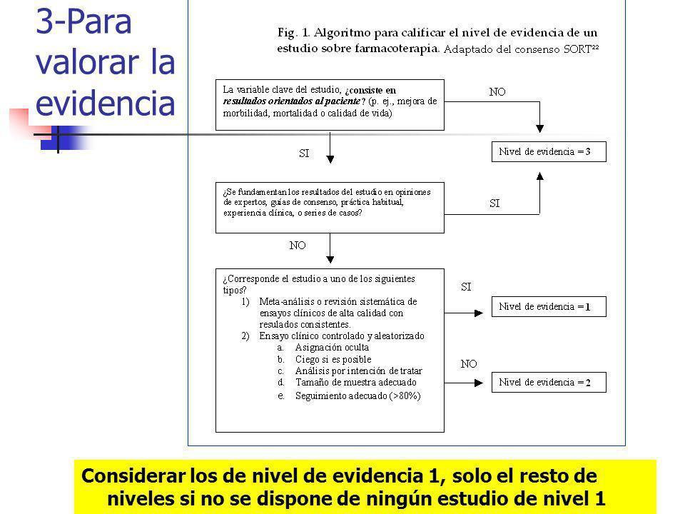 3-Para valorar la evidencia Considerar los de nivel de evidencia 1, solo el resto de niveles si no se dispone de ningún estudio de nivel 1