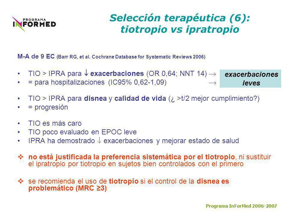 Selección terapéutica (6): tiotropio vs ipratropio M-A de 9 EC (Barr RG, et al. Cochrane Database for Systematic Reviews 2006) TIO > IPRA para exacerb