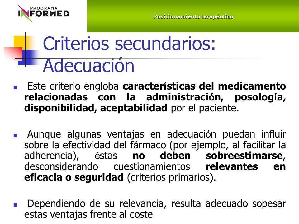 Criterios secundarios: Adecuación Este criterio engloba caracter í sticas del medicamento relacionadas con la administraci ó n, posolog í a, disponibi