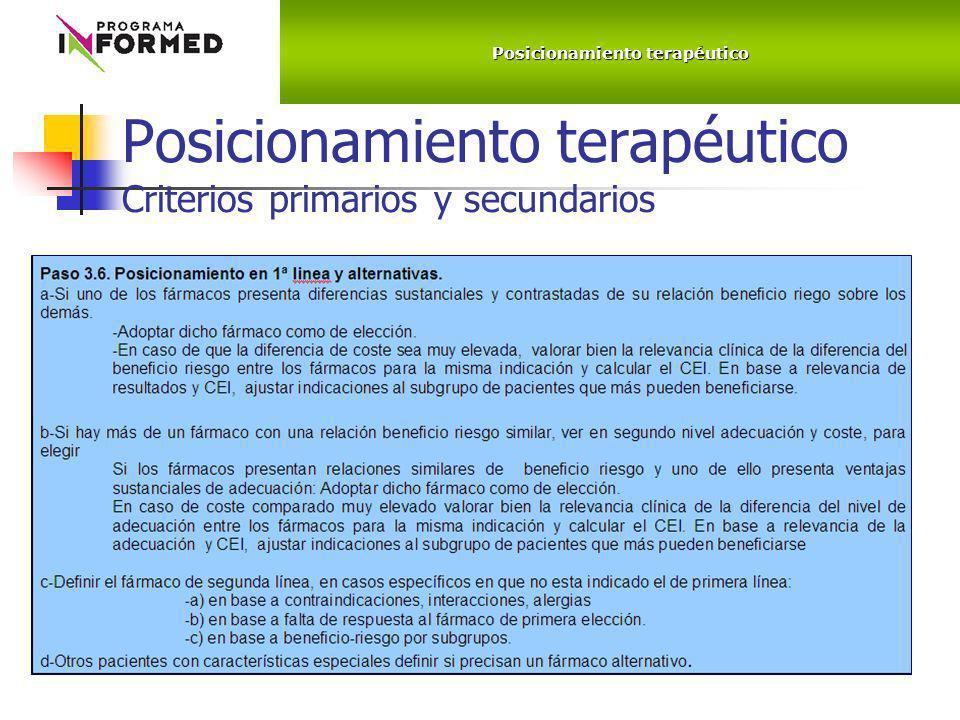 Posicionamiento terapéutico Criterios primarios y secundarios Posicionamiento terapéutico