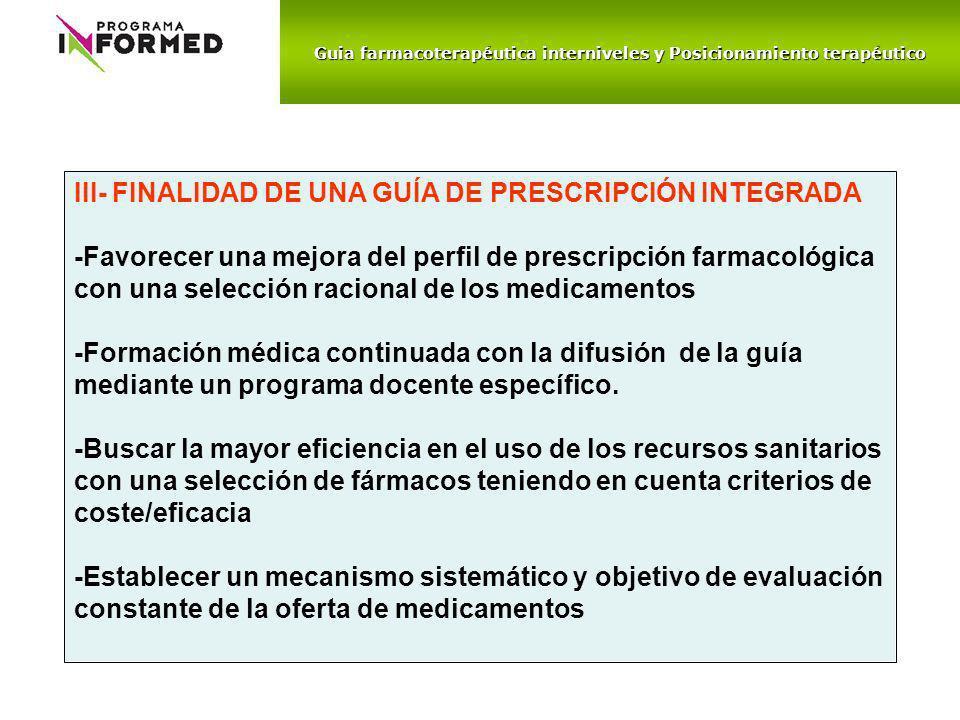 Guia farmacoterapéutica interniveles y Posicionamiento terapéutico III- FINALIDAD DE UNA GUÍA DE PRESCRIPCIÓN INTEGRADA -Favorecer una mejora del perf
