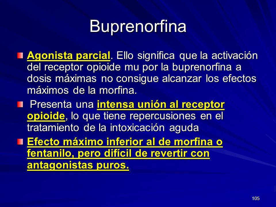 105 Buprenorfina Agonista parcial. Ello significa que la activación del receptor opioide mu por la buprenorfina a dosis máximas no consigue alcanzar l