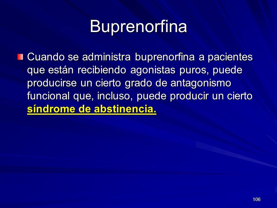 106 Buprenorfina Cuando se administra buprenorfina a pacientes que están recibiendo agonistas puros, puede producirse un cierto grado de antagonismo f