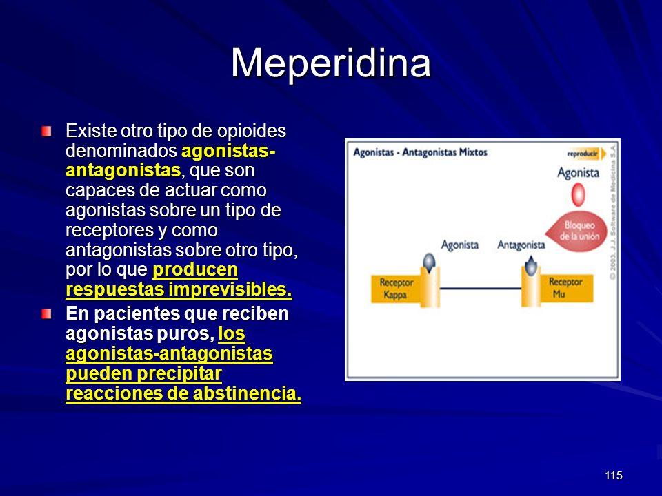 115 Meperidina Existe otro tipo de opioides denominados agonistas- antagonistas, que son capaces de actuar como agonistas sobre un tipo de receptores