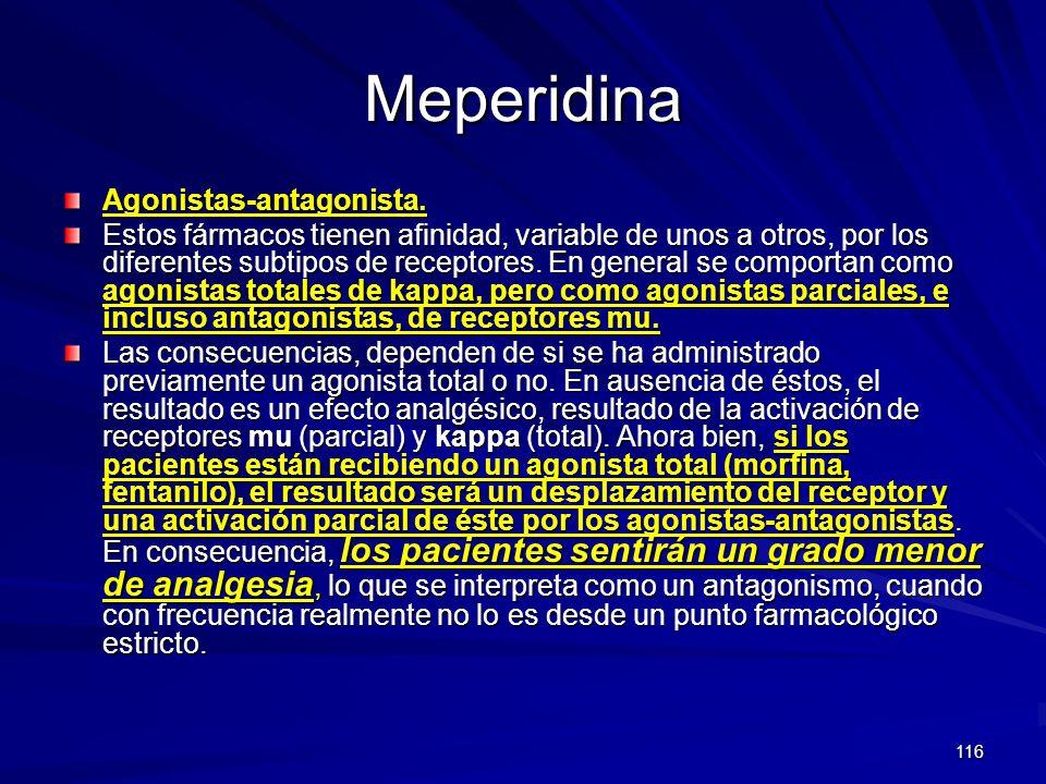 116 Meperidina Agonistas-antagonista. Estos fármacos tienen afinidad, variable de unos a otros, por los diferentes subtipos de receptores. En general