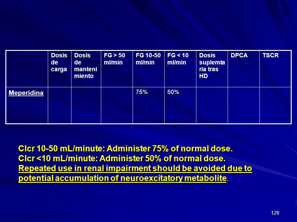 128 Dosis de carga Dosis de manteni miento FG > 50 ml/min FG 10-50 ml/min FG < 10 ml/min Dosis suplemta ria tras HD DPCATSCR Meperidina75%50% Clcr 10-