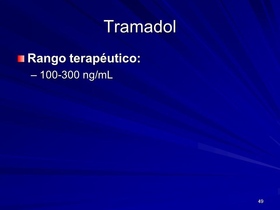 49 Tramadol Rango terapéutico: –100-300 ng/mL
