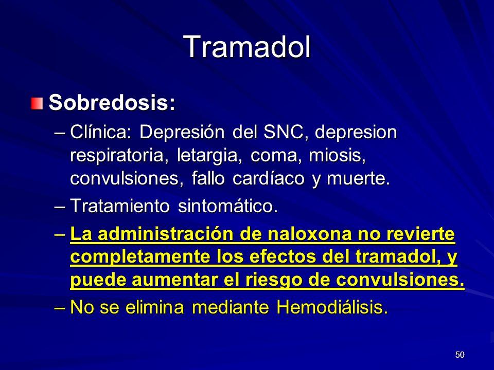 50 Tramadol Sobredosis: –Clínica: Depresión del SNC, depresion respiratoria, letargia, coma, miosis, convulsiones, fallo cardíaco y muerte. –Tratamien