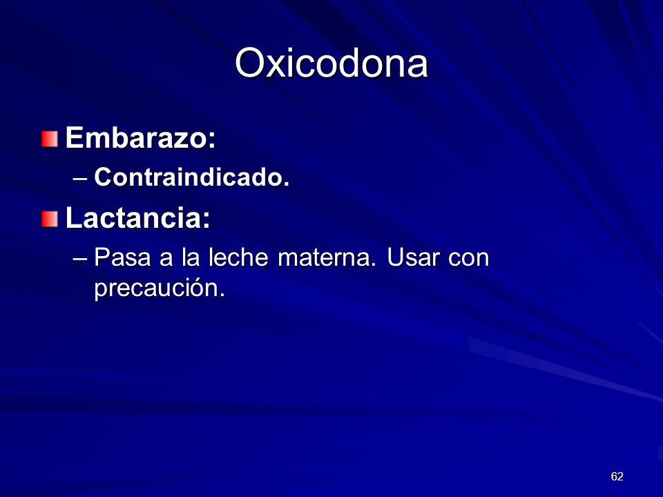 62 Oxicodona Embarazo: –Contraindicado. Lactancia: –Pasa a la leche materna. Usar con precaución.