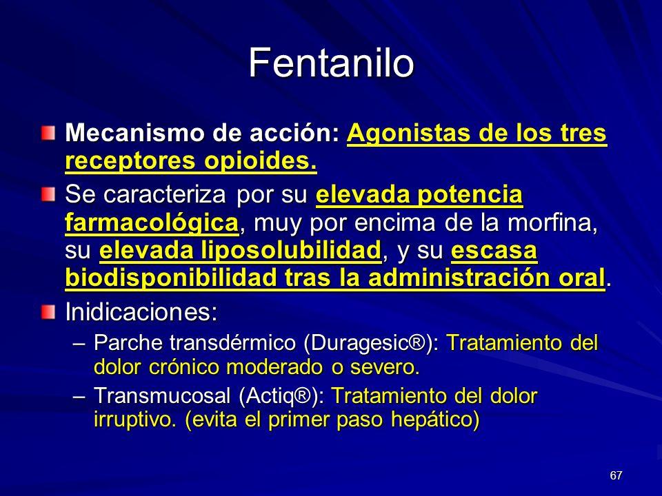 67 Fentanilo Mecanismo de acción: Mecanismo de acción: Agonistas de los tres receptores opioides. Se caracteriza por su elevada potencia farmacológica