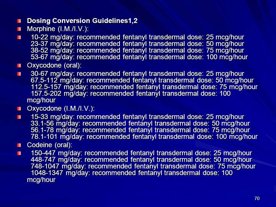 70 Dosing Conversion Guidelines1,2 Morphine (I.M./I.V.): 10-22 mg/day: recommended fentanyl transdermal dose: 25 mcg/hour 23-37 mg/day: recommended fe