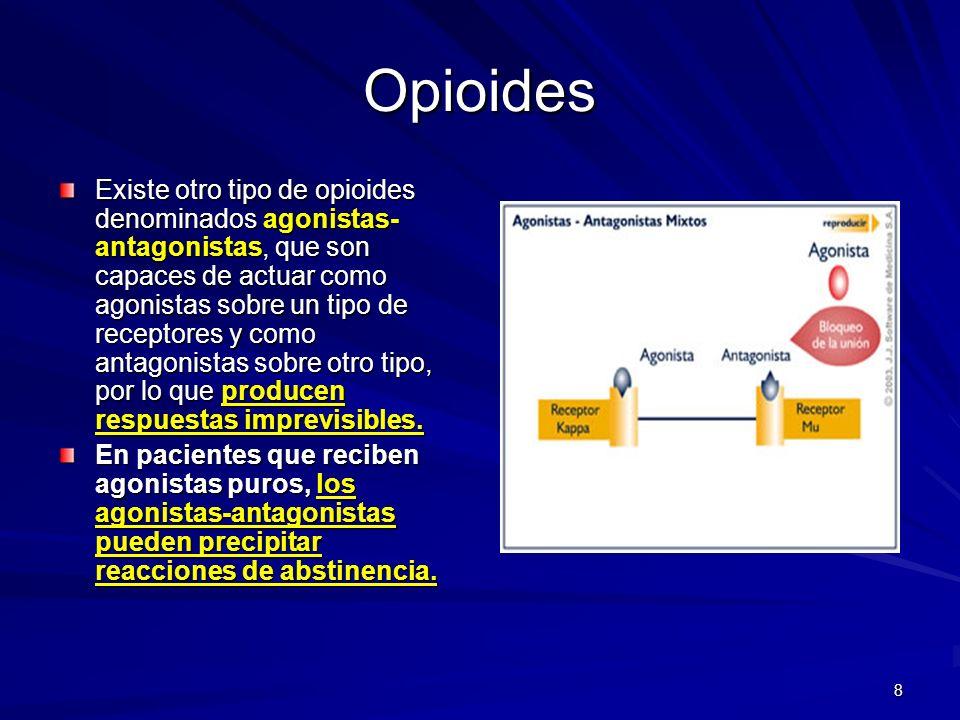 8 Opioides Existe otro tipo de opioides denominados agonistas- antagonistas, que son capaces de actuar como agonistas sobre un tipo de receptores y co