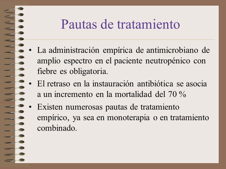 Pautas de tratamiento La administración empírica de antimicrobiano de amplio espectro en el paciente neutropénico con fiebre es obligatoria. El retras