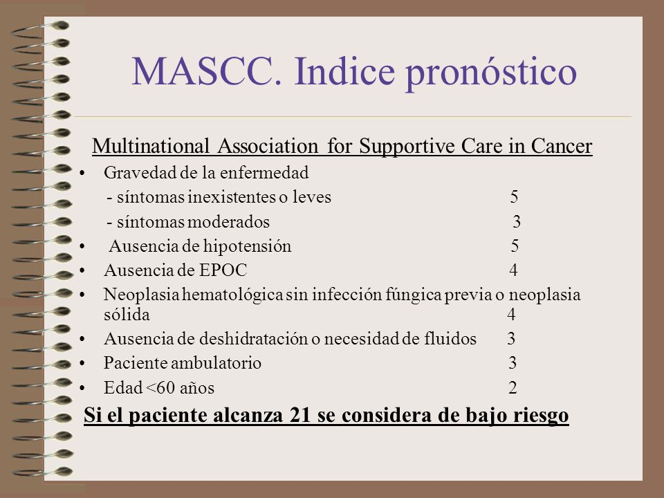 MASCC. Indice pronóstico Multinational Association for Supportive Care in Cancer Gravedad de la enfermedad - síntomas inexistentes o leves 5 - síntoma