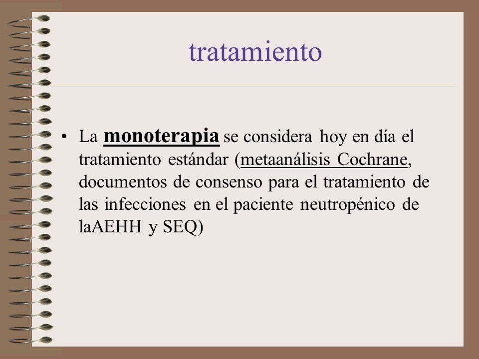 tratamiento La monoterapia se considera hoy en día el tratamiento estándar (metaanálisis Cochrane, documentos de consenso para el tratamiento de las i