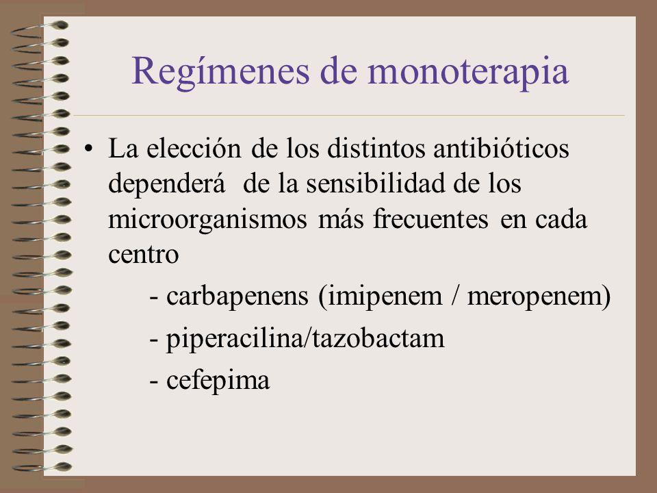 Regímenes de monoterapia La elección de los distintos antibióticos dependerá de la sensibilidad de los microorganismos más frecuentes en cada centro -