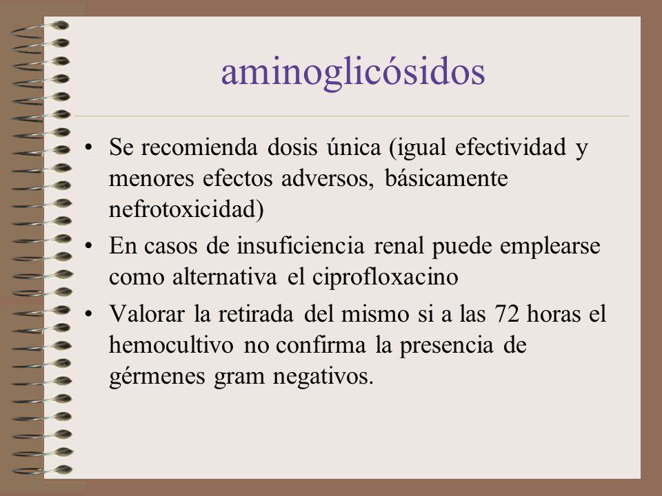 aminoglicósidos Se recomienda dosis única (igual efectividad y menores efectos adversos, básicamente nefrotoxicidad) En casos de insuficiencia renal p