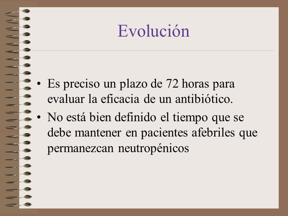 Evolución Es preciso un plazo de 72 horas para evaluar la eficacia de un antibiótico. No está bien definido el tiempo que se debe mantener en paciente