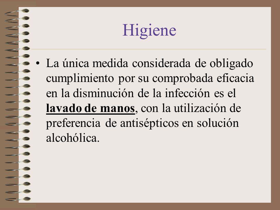 Higiene La única medida considerada de obligado cumplimiento por su comprobada eficacia en la disminución de la infección es el lavado de manos, con l