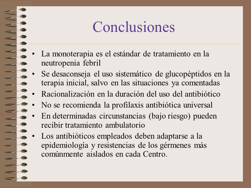 Conclusiones La monoterapia es el estándar de tratamiento en la neutropenia febril Se desaconseja el uso sistemático de glucopéptidos en la terapia in