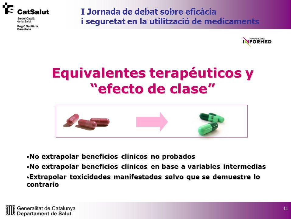 11 I Jornada de debat sobre eficàcia i seguretat en la utilització de medicaments Equivalentes terapéuticos y efecto de clase No extrapolar beneficios