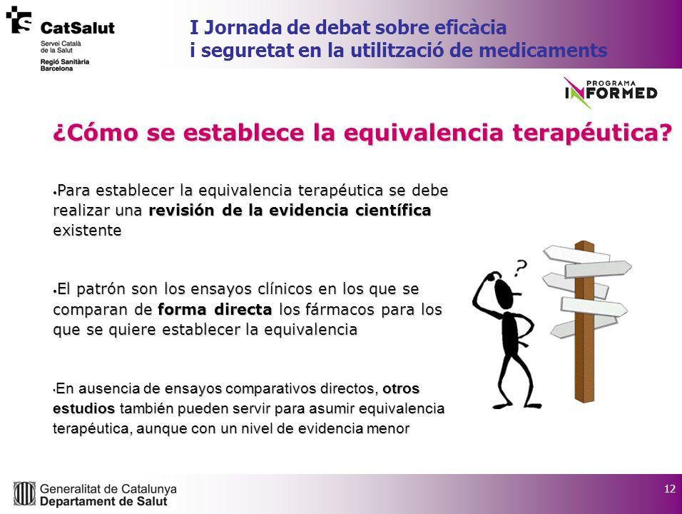 12 I Jornada de debat sobre eficàcia i seguretat en la utilització de medicaments Para establecer la equivalencia terapéutica se debe realizar una rev