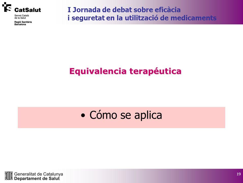 19 I Jornada de debat sobre eficàcia i seguretat en la utilització de medicaments Cómo se aplica Equivalencia terapéutica