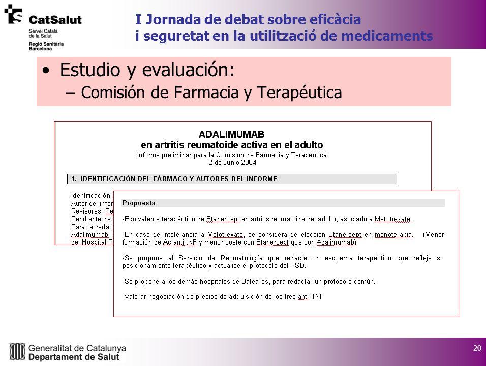 20 I Jornada de debat sobre eficàcia i seguretat en la utilització de medicaments Estudio y evaluación: –Comisión de Farmacia y Terapéutica
