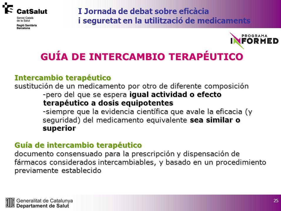 25 I Jornada de debat sobre eficàcia i seguretat en la utilització de medicaments GUÍA DE INTERCAMBIO TERAPÉUTICO Intercambio terapéutico sustitución