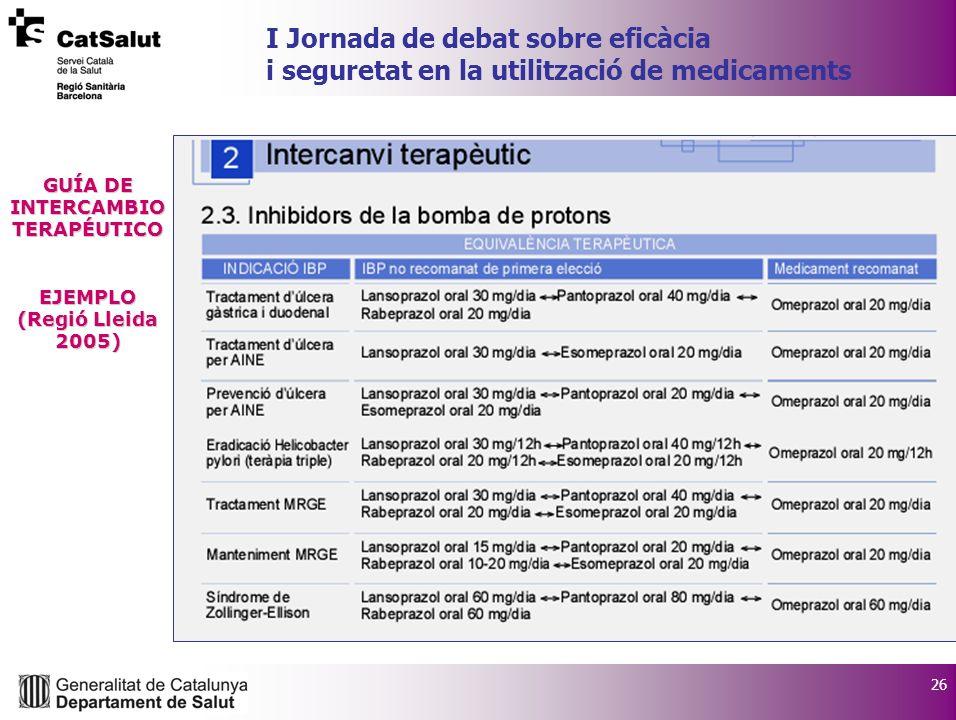26 I Jornada de debat sobre eficàcia i seguretat en la utilització de medicaments GUÍA DE INTERCAMBIO TERAPÉUTICO EJEMPLO (Regió Lleida 2005)