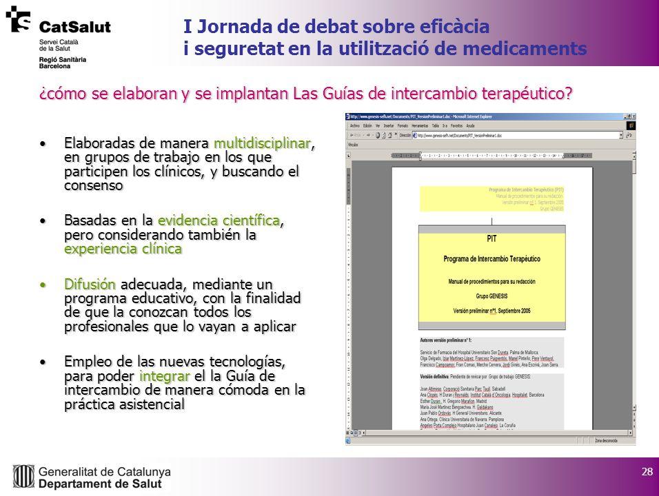 28 I Jornada de debat sobre eficàcia i seguretat en la utilització de medicaments ¿cómo se elaboran y se implantan Las Guías de intercambio terapéutico.